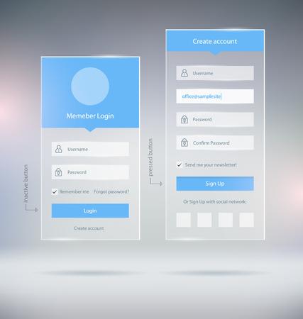Miembro transparente Iniciar sesión Elementos de interfaz de usuario de cuenta del cajón y Web Forms Foto de archivo - 47039884