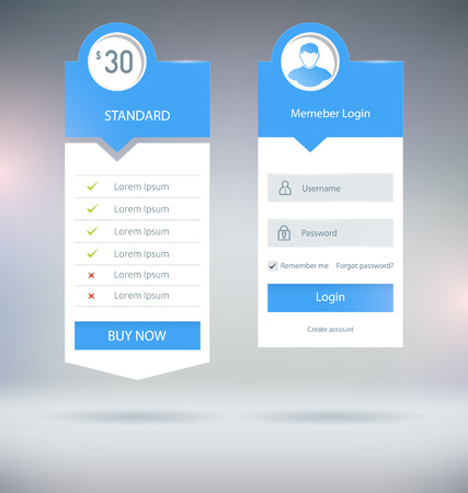 column: Flat UI Web Forms and Elements Vector Templates Illustration