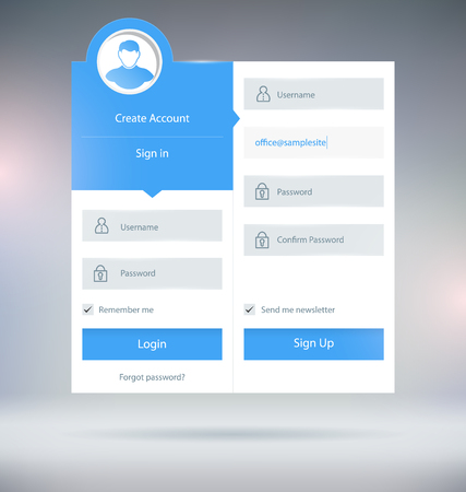 register: Login Form UI Design Vector Template
