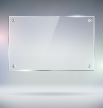Blank Glass Plate Vector Mock Up Çizim