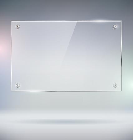 vidro: Em branco placa de vidro Vector Mock Up Ilustração