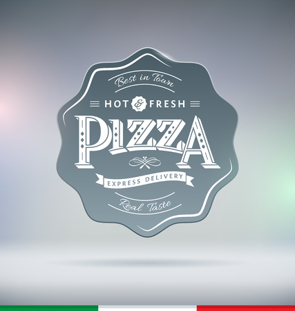 Pizza Label Typography Vector Illustration