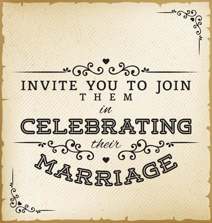 Invitación de la boda de la vendimia en el fondo de papel viejo