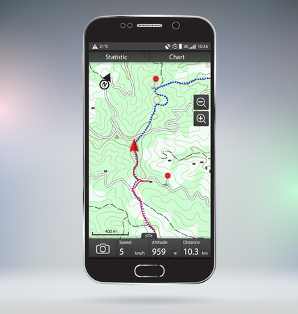 GPS 추적 모바일 애플리케이션 벡터 모의 일러스트