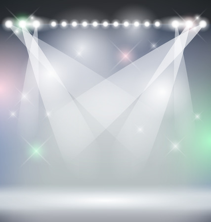 bright lights: Bright Stage Lights Vector Background