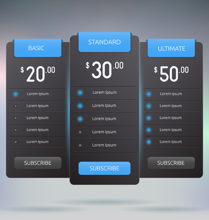 Pricing Tables Interface Mock Up Vector Template Illustration