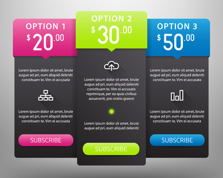 Colorful Pricing Tables Vector Mock Up Templates