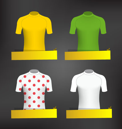 tours: Cycling Jerseys Vector Set with blank Banner Illustration