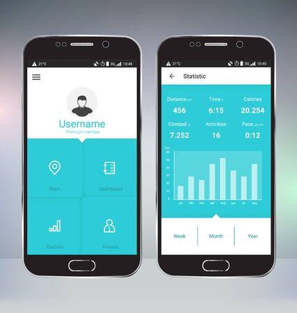 sports app: Sport Tracker Mobile App User Interface Design Illustration