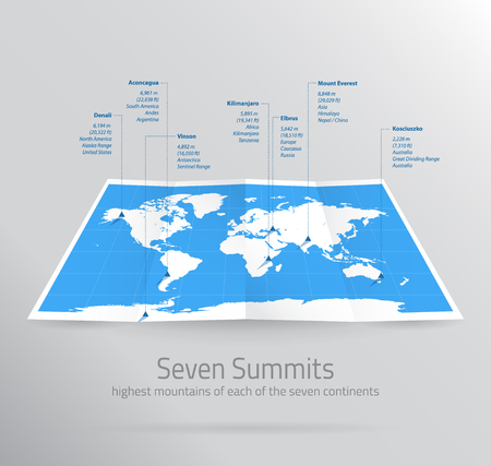 Seven Summits Map Infographic Highest Mountains on Continents