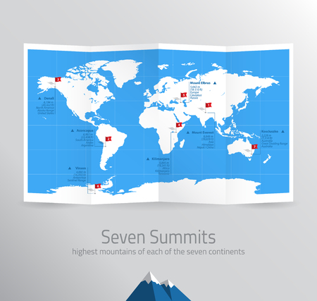 summit: Seven Summits Map Infographic Highest Mountains on Continents