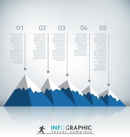 peaks: Flat Mountain Infographic Template Illustration