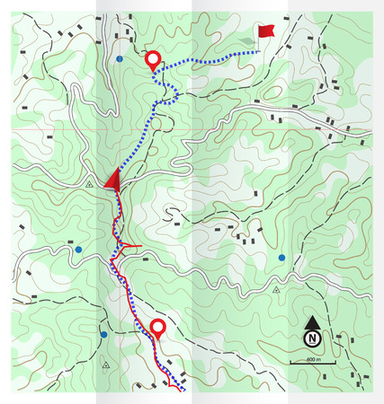 Abstract Topographic Map with Hiking Route Background Illustration