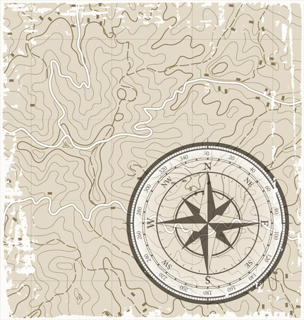 topographic: Old Grunge Topographic Map with Compass Illustration