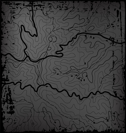 Old Dark Grunge Abstract Topographic Map