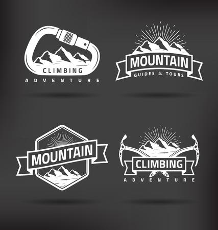 ice climbing: Climbing Mountain Vector Label Design