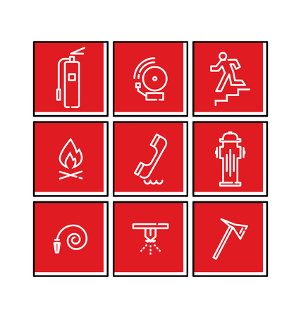 Flat Line Vector Fire Emergency Signs
