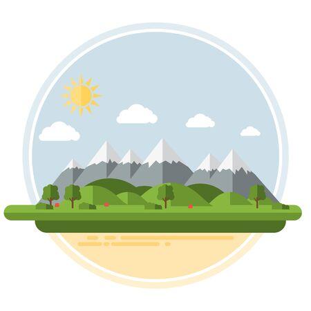 Flat Summer Vector Mountains Landscape
