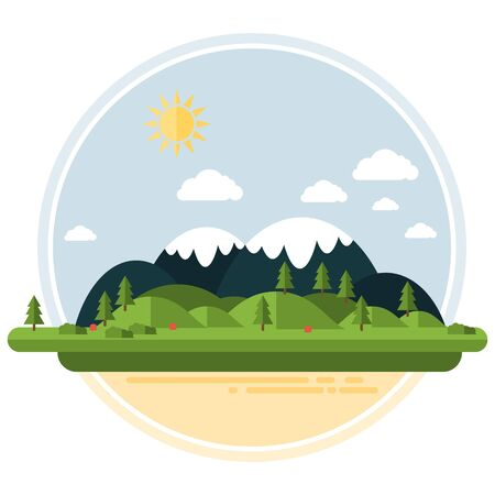 Flat Hilly Landscape Vector Card