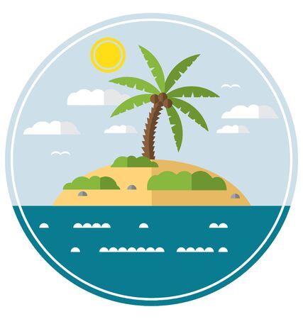 Flat Simple Desert Island Landscape Vector Illustration
