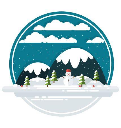 플랫 겨울 추상 풍경 일러스트 레이션 일러스트