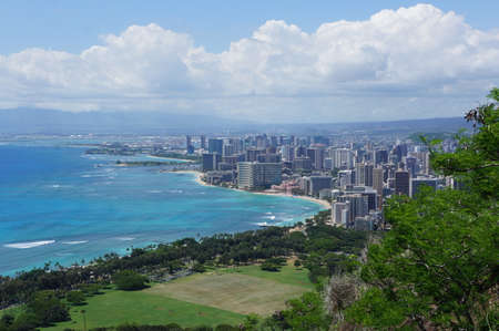 honolulu: Honolulu from Diamond Head crater Stock Photo