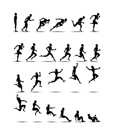 Sport black silhouette light athletics jumping people white background