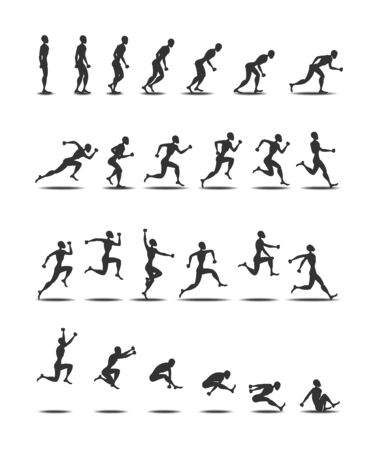 jumping people: Sport black silhouette light athletics triple  jumping people white background
