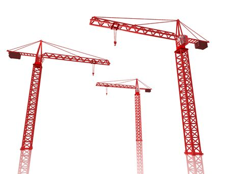 tower crane: 3D Render of three red cranes on white isolated background