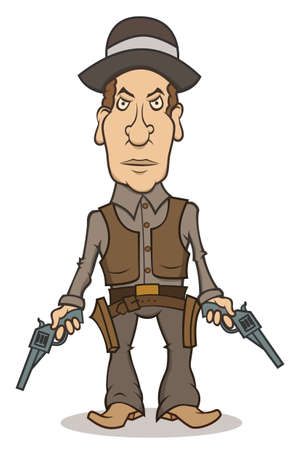 An angry cartoon cowboy with two guns Illustration
