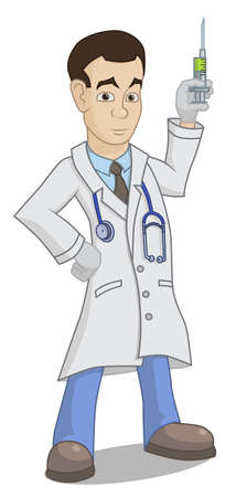 injectie: Een cartoon dokter met een spuit Stock Illustratie