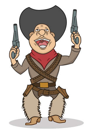 A happy cartoon cowboy with two guns Vector