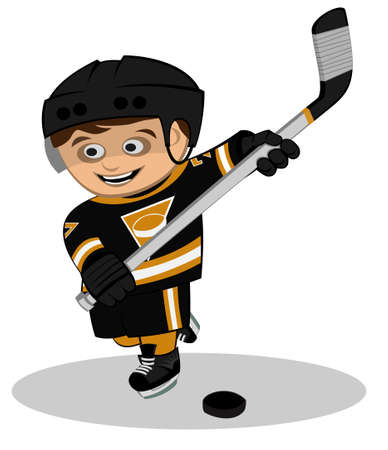 An ice-hockey player hits on puck Stock Vector - 13616093
