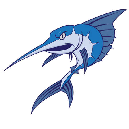 pez espada: El marlín azul mascota Vectores