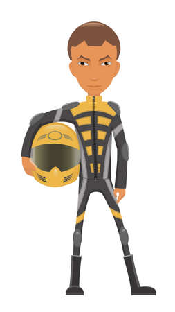 cartoon biker: A sport bike rider with a helmet