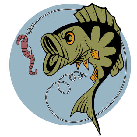baits: A perch and a worm mascot Illustration