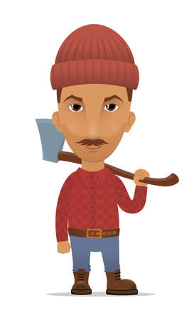 Cartoon lumberjack with an axe Vector