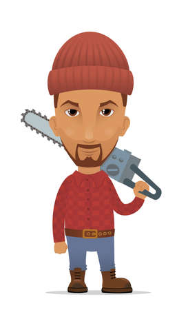 Cartoon lumberjack with a chain saw Vector