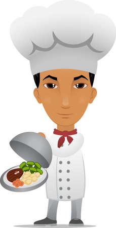 Cartoon chef with main course Vector