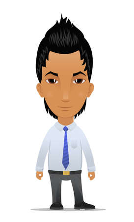 mohawk: Cartoon businessman with modern hairstyle