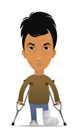 Cartoon guy with a leg fracture Vector