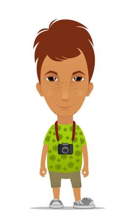 Cartoon tourist with a camera Vector