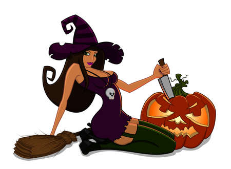 Witch with pumpkin Vector