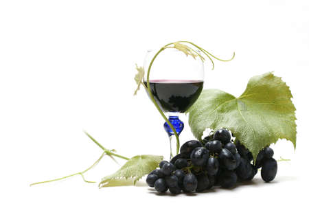 Wine and grapes isolated on white Stock Photo - 3143094