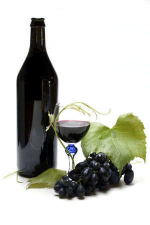 Wine bottle, glass and grapes isolated on white Stock Photo - 3143093