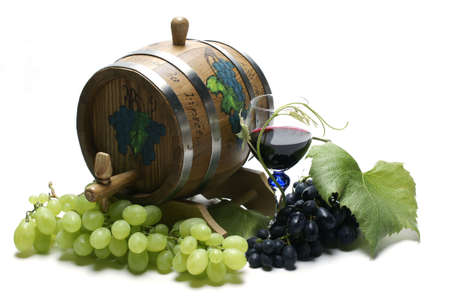 Wine barrel and grapes