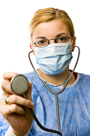 Image of a woman doctor pointing stethoscope at you.