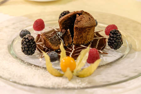 zoomed in: chocolate dessert