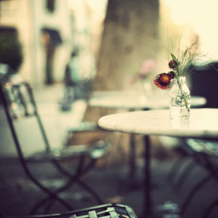 outdoor cafe: Outdoors cafe table in spring