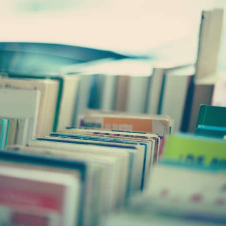 Vintage books in a stand photo